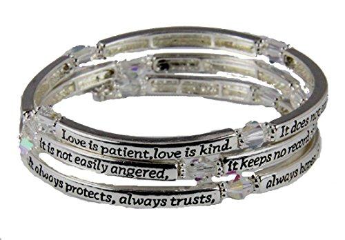 4031295 1st Corinthians 13: 4-7 Love is Patient Coil Wrap Bracelet Christian Scripture by Christian Bracelets