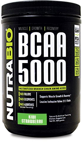 NutraBio BCAA 5000 Powder - 400 Grams - Kiwi Strawberry- 100% Pure Branched Chain Amino Acids - HPLC Tested