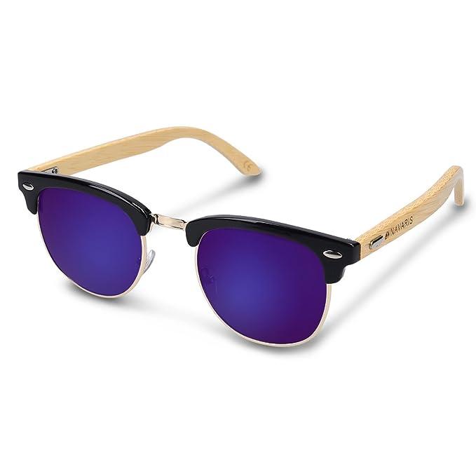 Navaris gafas de sol UV400 - Lentes de madera diseño retro unisex - Gafas de sol de bambú y funda - Diferentes colores azul oscuro