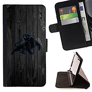 DEVIL CASE - FOR HTC One M7 - Carolina Panther Football - Style PU Leather Case Wallet Flip Stand Flap Closure Cover