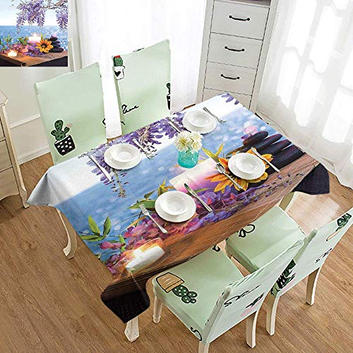 Wisteria Natural Hues Natural - DILITECK Waterproof Tablecloth Spa Decor Massage Stones with Daisy and Wisteria with The Seabed Foliage Meditation Table Decoration W52 xL72