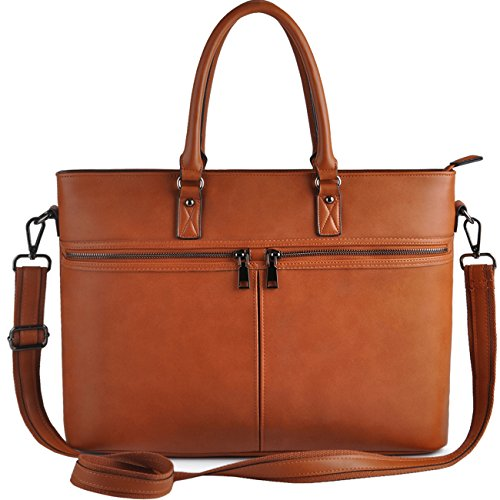 EDODAY Laptop Bag for Women,Business Computer Bags for Women Up to 15.6 Inch, Casual Laptop Tote Bag,Brown