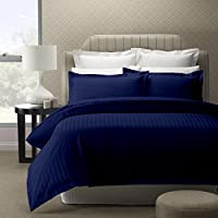 Cloth Fusion Satin Striped 300TC Cotton Bed Sheet with 1 Pi