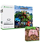 Xbox One S 500GB Minecraft Complete Adventure and Extra Minecraft Pig Limited Edition Wireless Controller Bundle