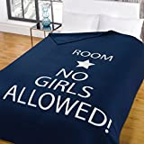 No Girls Allowed Star Blue Boys Room Childrens Snuggle Wrap Fleece Blanket Throw by Dreamscene