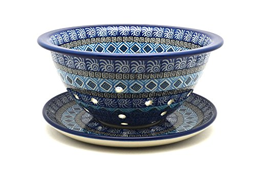 Polish Pottery Berry Bowl with Saucer - Aztec Sky