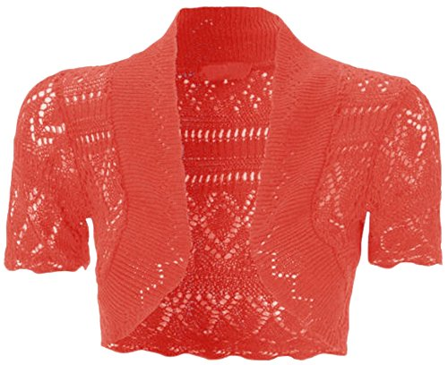 New Womens Plus Size Crochet Knit Fish Net Bolero Shrugs Tops 8-20 ( Red, 16 )