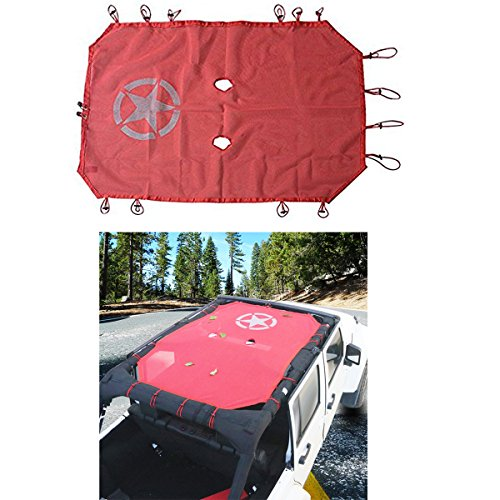 MOEBULB Car Top Sunshade Mesh UV Protection Sun Shade Cover Red for 2007 to 2016 Jeep Wrangler JK 4-Door with Five-pointed Star