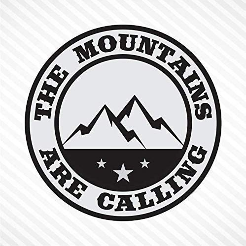 The Mountains Are Calling - Light Gray & Black, Vinyl Decal Bumper Sticker Outdoor Camping Hiking Rock Climbing Off Road ()