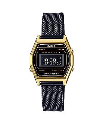 Casio LA690WEMB-1B - Reloj Digital con cronógrafo y Correa de Malla Negra para Mujer, Estilo Vintage, Color Dorado: Amazon.es: Relojes