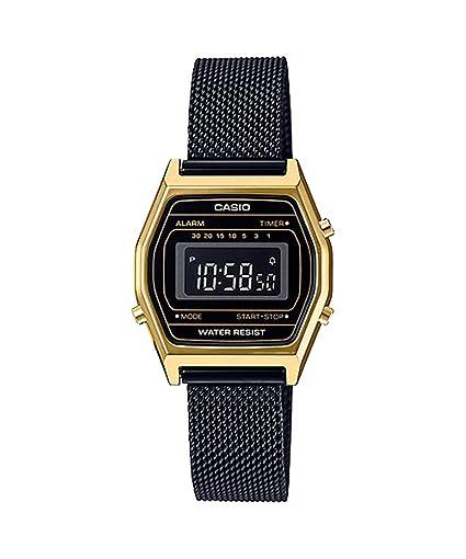 169330f51c8c Casio LA690WEMB-1B - Reloj Digital con cronógrafo y Correa de Malla Negra para  Mujer