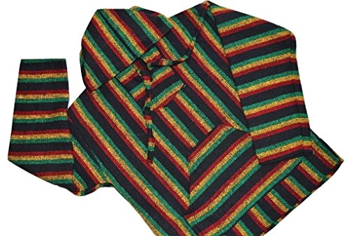 Mexican Baja Hoodie RASTA Pullover Drug Rug Sweater Poncho (Small)