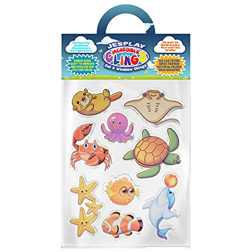 Ocean Life Thick Gel Clings Incredible Removable Window Clings for Kids, Toddlers - Otter, Stingray, Clownfish, Crab, Dolphin - Incredible Gel Decals for Glass, Walls, Planes, Classrooms, Bedrooms]()