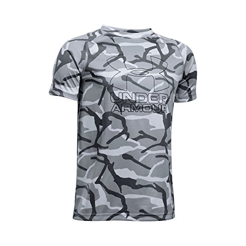 Under Armour Boys' Big Logo Printed T-Shirt, Overcast Gray/Black, Youth Large