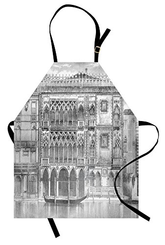Lunarable Antique Apron, 19th Century Engraving of Grand Canal Venice Monument Landmark Illustration Print, Unisex Kitchen Bib Apron with Adjustable Neck for Cooking Baking Gardening, White Black