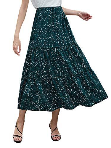 Milumia Women's Boho Vintage Print Pockets A Line Maxi Skirt