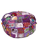 Eye-Catching Round Violet Ottoman Cotton Patch Work Pouf Cover By Rajrang