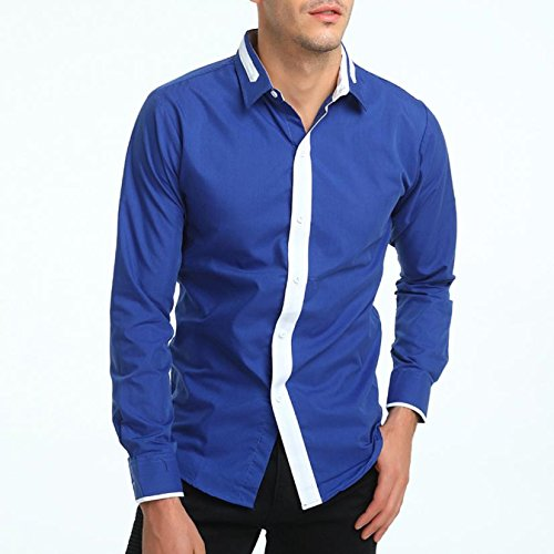 OWMEOT Mens Trendy Slim Fit Two-Toned Checkered Longsleeve Shirt (Blue, XL) by OWMEOT