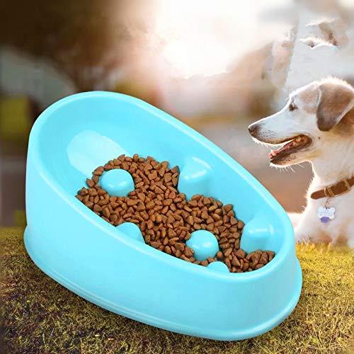 (CCStudio Oval Dog Slow Feeders Challenge Dog Feeder Pet Slow Feeder Stop Dog Bowl Non-Skid Dog Bowls Diet Bowl Preventing Vomiting Bloating Choking Healthy Slow Pet Bowl (Small, Light Blue) )