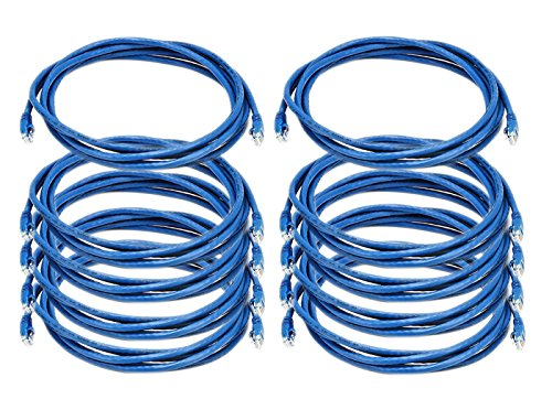 iMBAPrice 10' Cat5e Network Ethernet Patch Cable, 10 Pack, Blue - Blue Cable Network