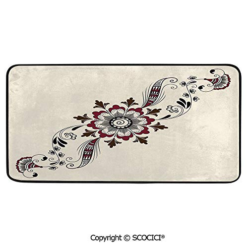 (Soft Long Rug Rectangular Area mat for Bedroom Baby Room Decor Round Playhouse Carpet,Henna,Colorful Floral Pattern Asian Mehndi Arrangement Nature,39