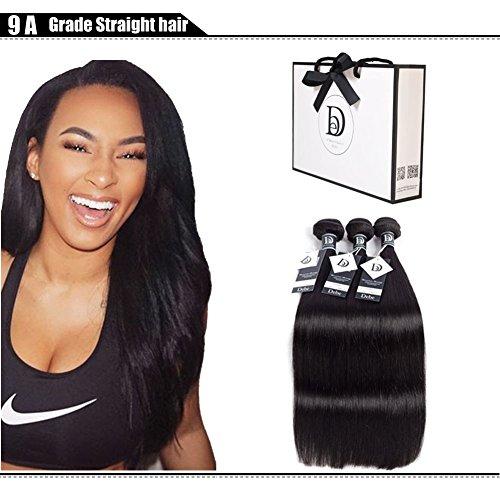 Debe Hair Peruvian Straight Virgin Hair 3 Bundles 9A Grade 100% Unprocessed Remy Human Hair Weave Extensions Natural Black (10 12 14) from Debe