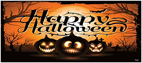 Victory Corps Outdoor Halloween Holiday Garage Door Banner Cover Mural Décoration 7'x16 - Night of The Jack-O'-Lantern - Outdoor Halloween Holiday Garage Door Banner -