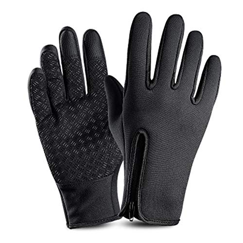 Super explosion Men's Windproof Reflective Ultra Thermal Winter Cycling Bike Gloves with Thick Gel Padding Touch Screen(Black2 Large)