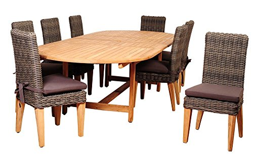 9-Pc Double Extendable Oval Dining Set (Outdoor Teak Furniture Singapore)