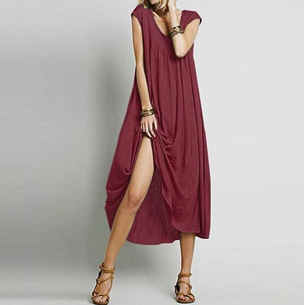Womens Summer Plus Size Scoop Neck Solid Color Vintage Tank Dress Casual Loose Boho Beach Maxi Dress