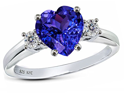 Star K 8mm Heart Shape Simulated Tanzanite Ring Sterling Silver Size 7.5