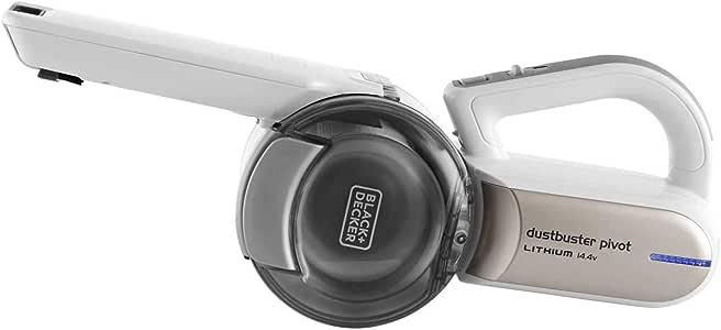 Black+Decker 14.4V Lithium-ion Cordless Pivot Dustbuster/Cyclonic Hand Vacuum Cleaner, White - PV1420L-B5, 2 Years Warranty