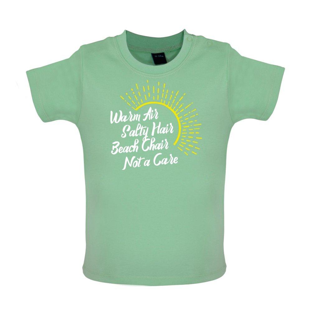 Baby T-Shirt Beach Chair 3-24 Months Not A Care Warm Air Salty Hair 8 Colours