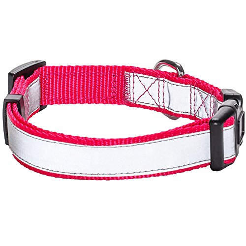 blueberry-pet-reflective-french-pink-basic-dog-collar-neck-12-16-small-collars-for-dogs
