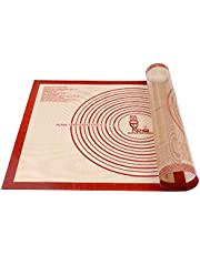 Non-Slip Silicone Pastry Mat Extra Large with Measurements 28''by 20'' for Silicone Baking Mat, Counter Mat, Dough Rolling Mat,Oven Liner,Fondant/Pie Crust Mat by Folksy Super Kitchen (Red,20×28)