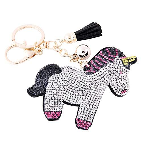 Soleebee Glitter Unicorn Keychain Premium SS6 Crystal Tassel Key Chain Leather Bag Charm for Women Girls (Hot pink+Black) ()