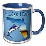 3dRose Boehm Graphics Florida - State of Florida with marlin - 11oz Two-Tone Blue Mug (mug_58820_6)