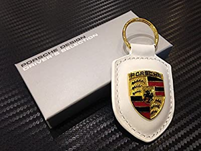 Angel Mall Porsche White Crest Leather Key Chain Car Logo Key Ring Fashion Gift 1-pc Set