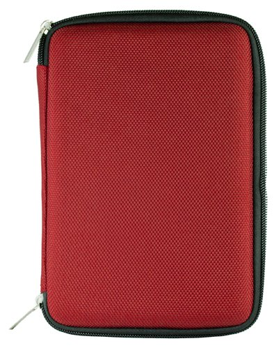 RED Slim Stylish Hard Cover Nylon Protective Carrying Case Folio for Pandigital Novel 7'' Color Multimedia eReader + Indlues a 4-Inch Determination Hand Strap + Includes a Crystal Clear HD Noise Filter Ear buds Earphones Headphones ( 3.5mm Jack )