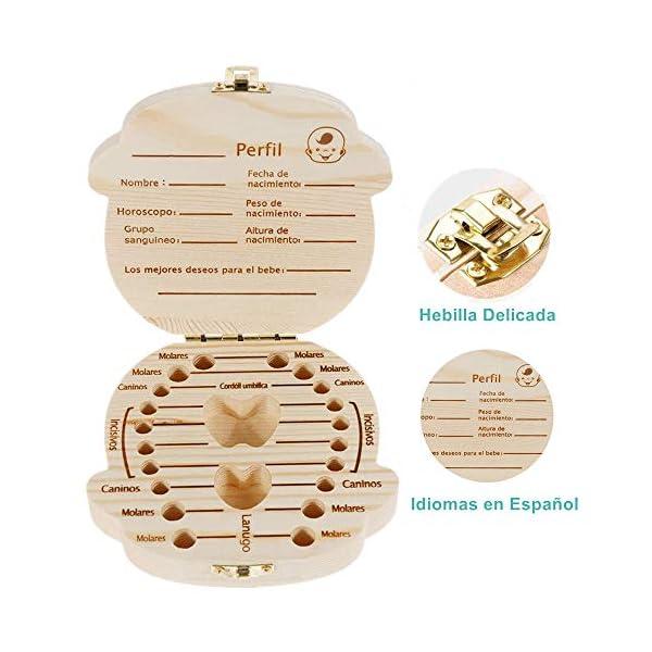 DEAROPE Caja de Dientes, Caja para Dientes en Español de Leche, Caja de Madera para Guardar Dientes (Niño) 2
