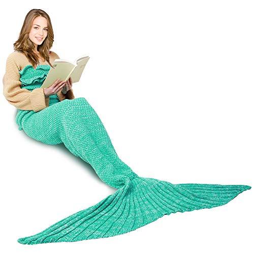 AmyHomie Mermaid Tail Blanket, Mermaid Blanket 74in Adult Mermaid Tail Blanket for Girls, Little Mermaid Blankets for Kids (Adult, Green with Ruffles)