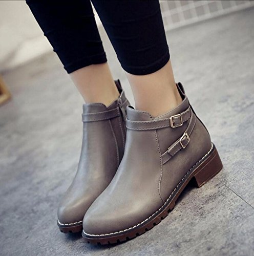 KHSKX-Gray Low With The Party With A Flat Base Round Head Short And Boots The Korean Version Of The Raw Shoes Student Shoes 38 694fU