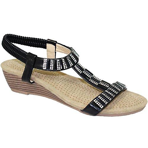 Fantasia Boutique JLH877 Reynolds Ladies Jewell Diamante T-Strap Elasticated Wedge Sandals Black