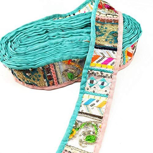 50 mm 15 Yards Boho Sequin Embroidered Trim Sewing Sari Border Art Craft Fabric DIY Bag Clothing Tablecloth Pillowcase Ribbon