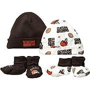 NFL Cleveland Browns Print Cap & Bootie Set(4 Pack), 0-6 Months, Brown