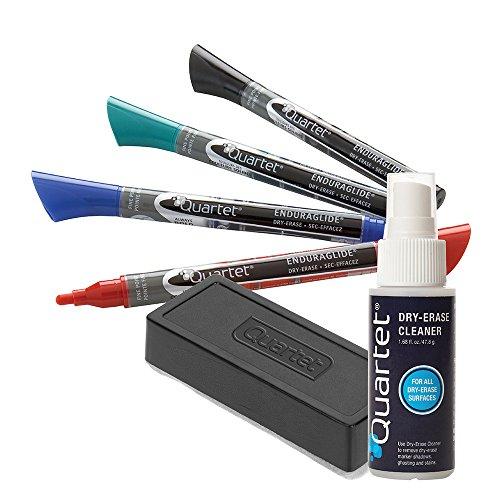 Quartet Dry Erase Markers Accessory Kit, 4 Fine Tip EnduraGlide Dry Erase Markers, an Eraser, & Cleaning Spray (5001M-5SK) Dry Erase Marker Removal