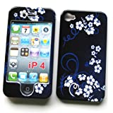 "Apple iPhone 4 & 4S Snap-on Protector Hard Case Image Cover ""Midnight Flowers"" Design"