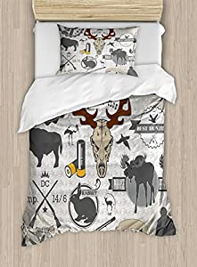 Hunting Duvet Cover Set Twin Size by Ambesonne, Wilderness Themed Vintage Graphic Labels Weapons and Ammunition Moose Elk Rabbit, Decorative 2 Piece Bedding Set with 1 Pillow Sham, Multicolor