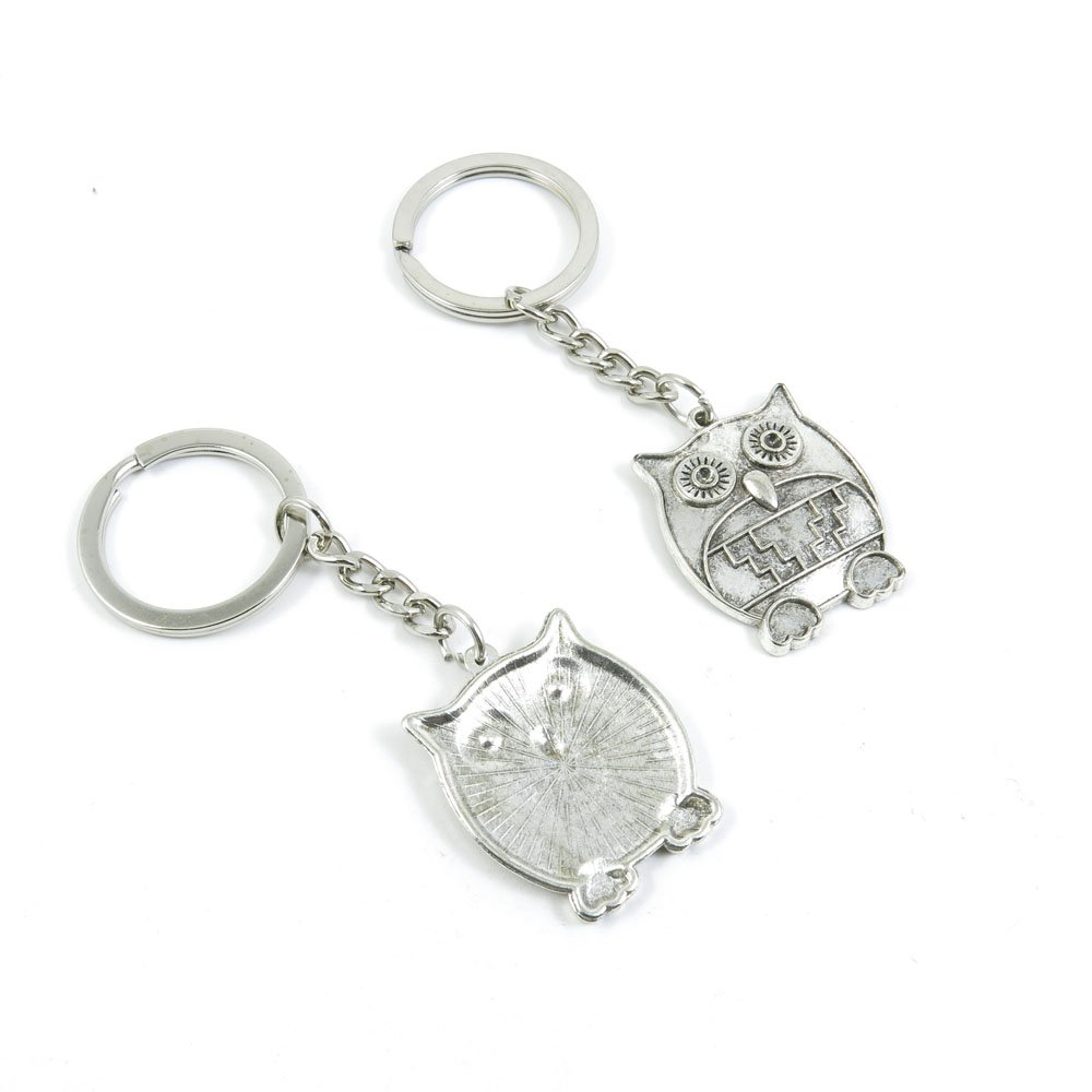 100 Pieces Keychain Door Car Key Chain Tags Keyring Ring Chain Keychain Supplies Antique Silver Tone Wholesale Bulk Lots F1KH6 Owl
