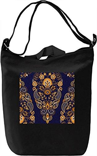 Black Flowers Pattern Borsa Giornaliera Canvas Canvas Day Bag| 100% Premium Cotton Canvas| DTG Printing|